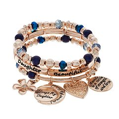 'Daughter' Blue Bead & Rose Gold Tone Charm Stretch Bracelet Set