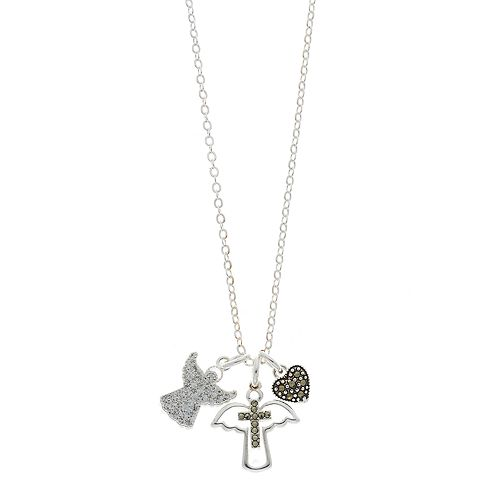 Silver Expressions by LArocks Marcasite & Crystal Angel Cluster Pendant Neck