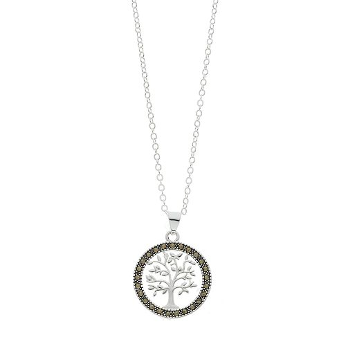 Silver Expressions by LArocks Marcasite Round Tree Pendant Necklace