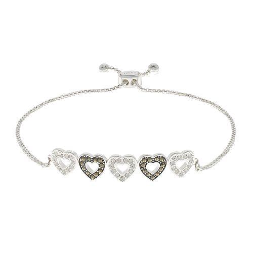 Silver Expressions by LArocks Marcasite & Crystal Hearts Bracelet