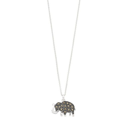 Silver Expressions by LArocks Marcasite Elephant Pendant Necklace
