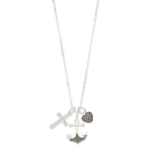 Silver Expressions by LArocks Marcasite & Crystal Cross Anchor Cluster Necklace