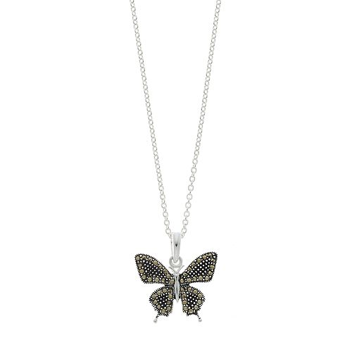Silver Expressions by LArocks Marcasite Butterfly Pendant Necklace