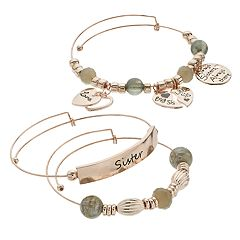 Grey Bead & Rose Gold Tone 'Sister' Charm Bangle Bracelet Set