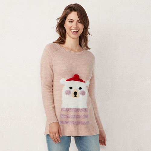 Women's LC Lauren Conrad Graphic Crewneck Tunic Sweater