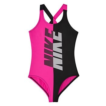 1062478f0 Girls 7-16 Nike Pink & Black Crossback One-Piece Swimsuit