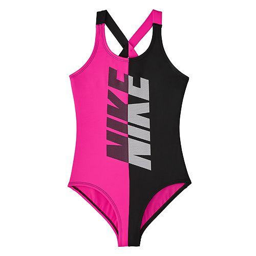 2231159ec4 Girls 7-16 Nike Pink & Black Crossback One-Piece Swimsuit