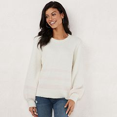 Women's LC Lauren Conrad Fuzzy Balloon-Sleeve Sweater