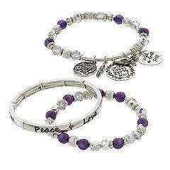 Purple Beads & Charms 'Free Spirit' Engraved Stretch Bracelet Set
