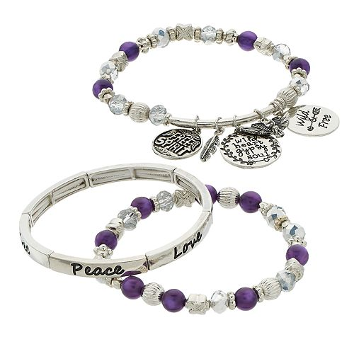 "Purple Beads & Charms ""Free Spirit"" Engraved Stretch Bracelet Set"