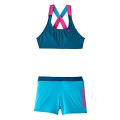 Girls 6-20 Nike Crossback Sport Bikini Top & Shorts Swimsuit Set