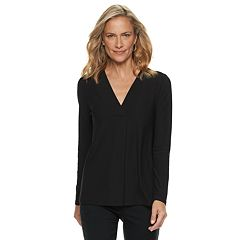 Women's Dana Buchman Pleated V-Neck Top