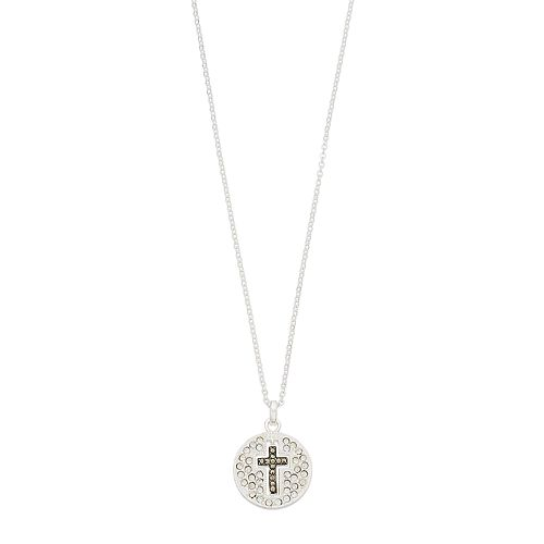 Silver Expressions by LArocks Marcasite & Crystal Cross Pendant Necklace