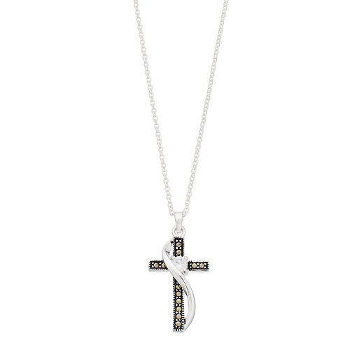 Silver Expressions by LArocks Marcasite & Cubic Zirconia Cross Pendant Necklace