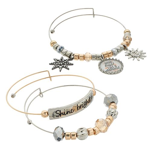 "Two Tone Bead & ""Shine Bright"" Charm Bangle Bracelet Set"