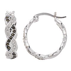 Silver Expressions by LArocks Marcasite & Crystal Twist Hoop Earrings