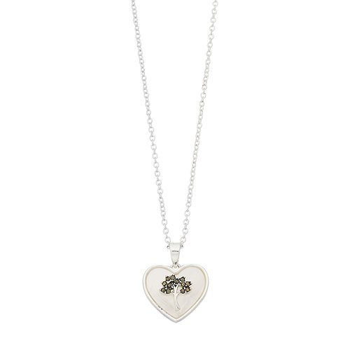 Silver Expressions by LArocks Marcasite Mother of Pearl Tree Heart Pendant Necklace