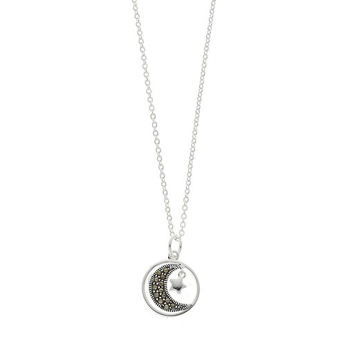 Silver Expressions by LArocks Marcasite Moon Pendant Necklace