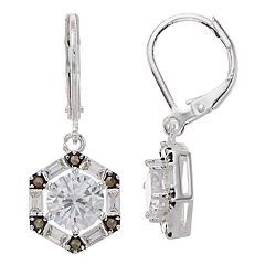 Silver Expressions by LArocks Marcasite & Cubic Zirconia Geometric Drop Earrings