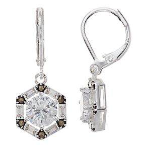 Silver Expressions by LArocks Marcasite & Cubic Zirconia Geometric Drop Earrings