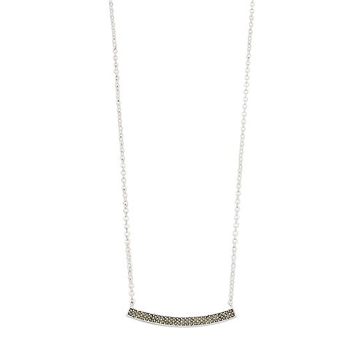Silver Expressions by LArocks Marcasite Curved Bar Necklace