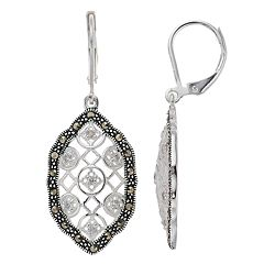 Silver Expressions by LArocks Marcasite & Cubic Zirconia Lattice Drop Earrings