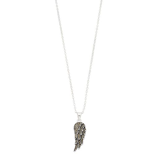 Silver Expressions by LArocks Marcasite Wing Pendant Necklace