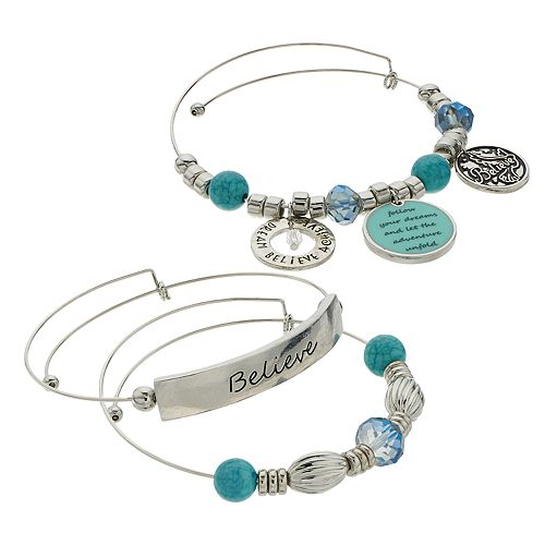 "Blue Bead & Silver Tone ""Believe"" Charm Bangle Bracelet Set"