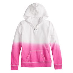 Girls 7-16 SO® Lace-Up Long Sleeve Hooded Sweatshirt