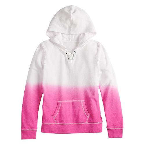 Girls 7-16 SO® Lace-Up Long Sleeve Hooded Sweatshirt