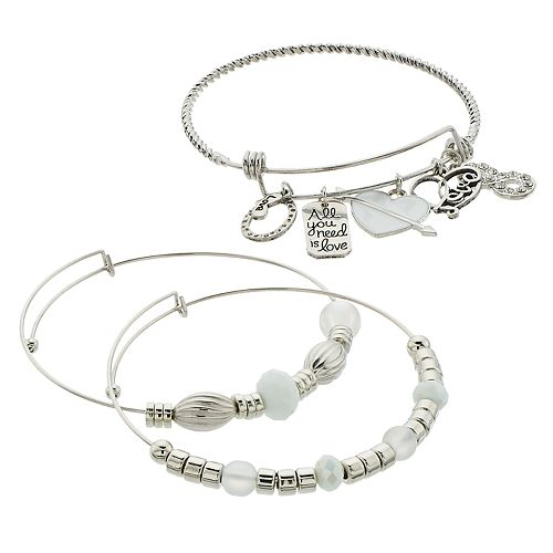 "White Bead & Silver Tone ""All You Need Is Love"" Charm Bangle Bracelet Set"