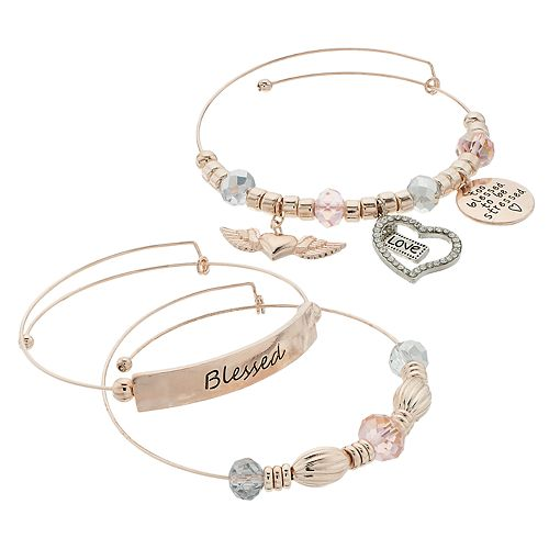 "Rose Gold Tone Charm &  Bead ""Blessed"" Charm Bangle Bracelet Set"