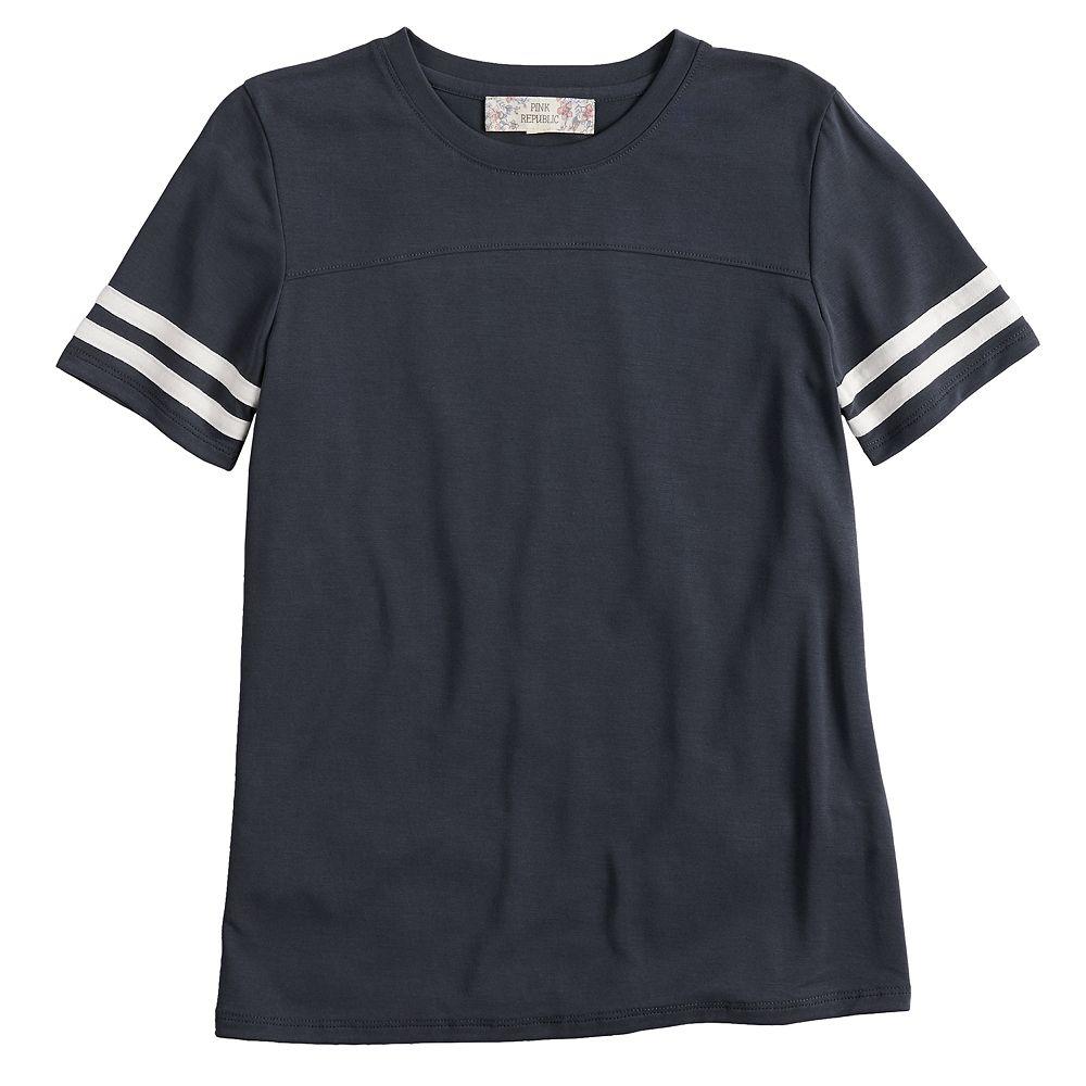 Girls 7-16 & Plus Size Pink Republic Short Sleeve Cupro Varsity Tee