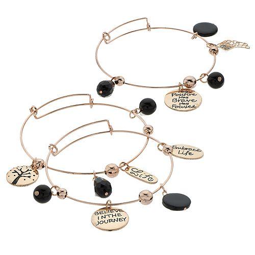 "Black Bead & Rose Gold Tone ""Life"" Charm Bangle Bracelet Set"