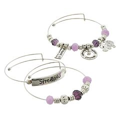 Purple Bead & Silver Tone 'Strength' Charm Bangle Bracelet Set