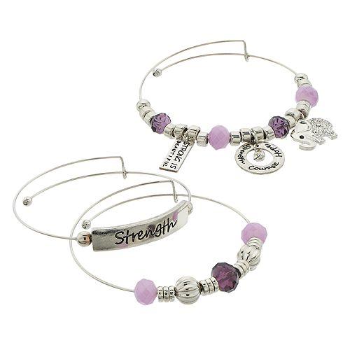 "Purple Bead & Silver Tone ""Strength"" Charm Bangle Bracelet Set"