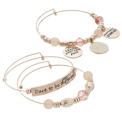 "Pink Bead & Rose Gold Tone ""Stand Out"" Charm Bangle Bracelet Set"