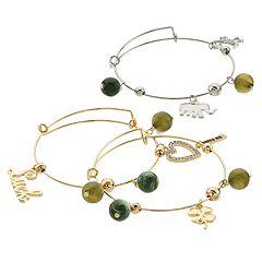Green Bead & Two Tone 'Luck' Charm Bangle Bracelet Set