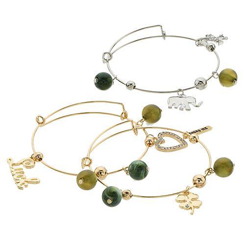 "Green Bead & Two Tone ""Luck"" Charm Bangle Bracelet Set"