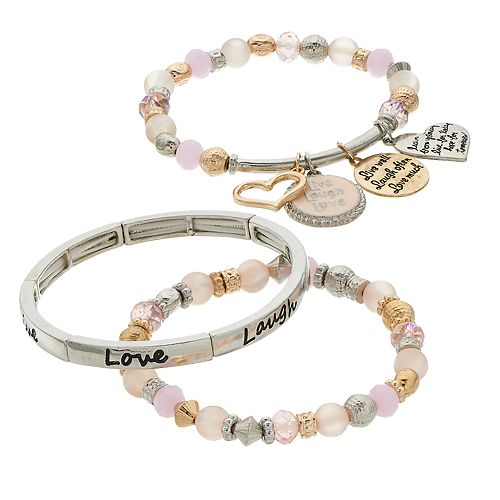 "Pink Bead & Simulated Stone ""Live, Laugh, Love"" Charm Stretch Bracelet Set"