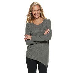 Women's Dana Buchman Lurex Asymmetrical Hem Sweater