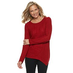 Women's Dana Buchman Lurex Asymmetrical Hem Sweater
