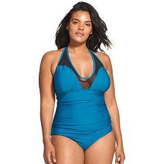890ab6915040e Women s Speedo V-Neck Mesh One-Piece Swimsuit