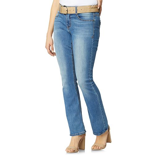 Women's Angels Curvy Fit Belted Bootcut Jeans