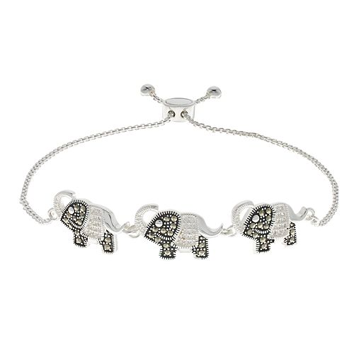 Silver Expressions by LArocks Marcasite & Cubic Zirconia Elephants Bracelet