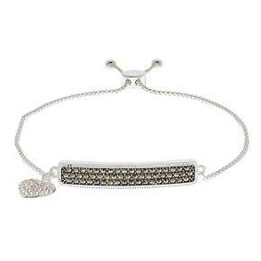 Silver Expressions by LArocks Marcasite Bar & Heart Charm Bracelet