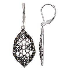 Silver Expressions by LArocks Marcasite Lattice Drop Earrings