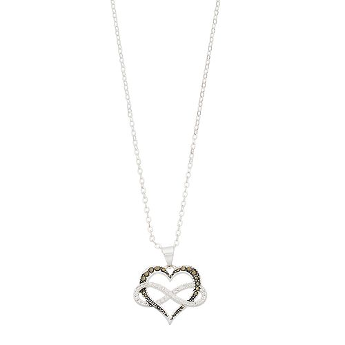 Silver Expressions by LArocks Marcasite & Crystal Heart Infinity Pendant Necklace