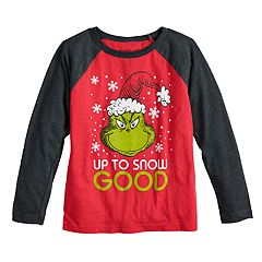Boys 4-12 Jumping Beans® Dr. Seuss The Grinch 'Up To Snow Good' Raglan Graphic Tee