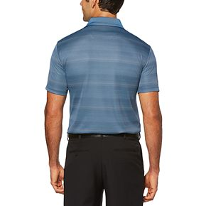 Big & Tall Grand Slam Double Texture Stripe Polo with Pop and Birdseye Collar